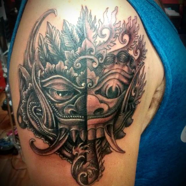 Barong and Rangda Tattoo by Kuta King