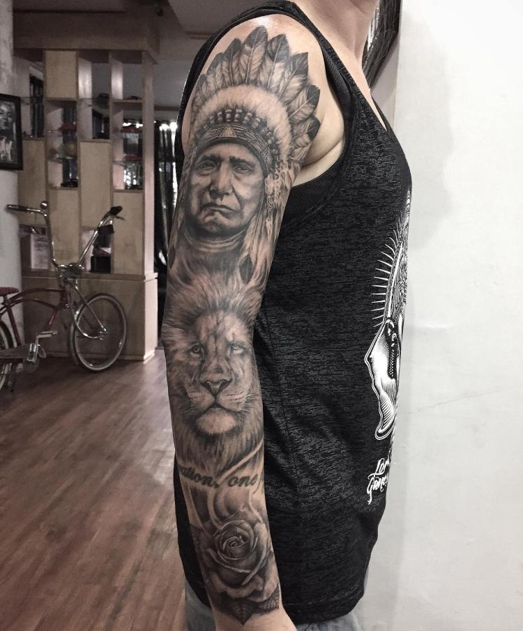 Sleeve by Buch at Familia Tattoo Bali