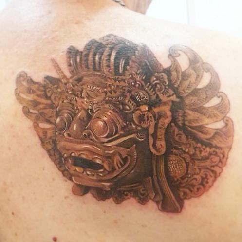 Barong wood mask tattoo by Ipin La Tattuu