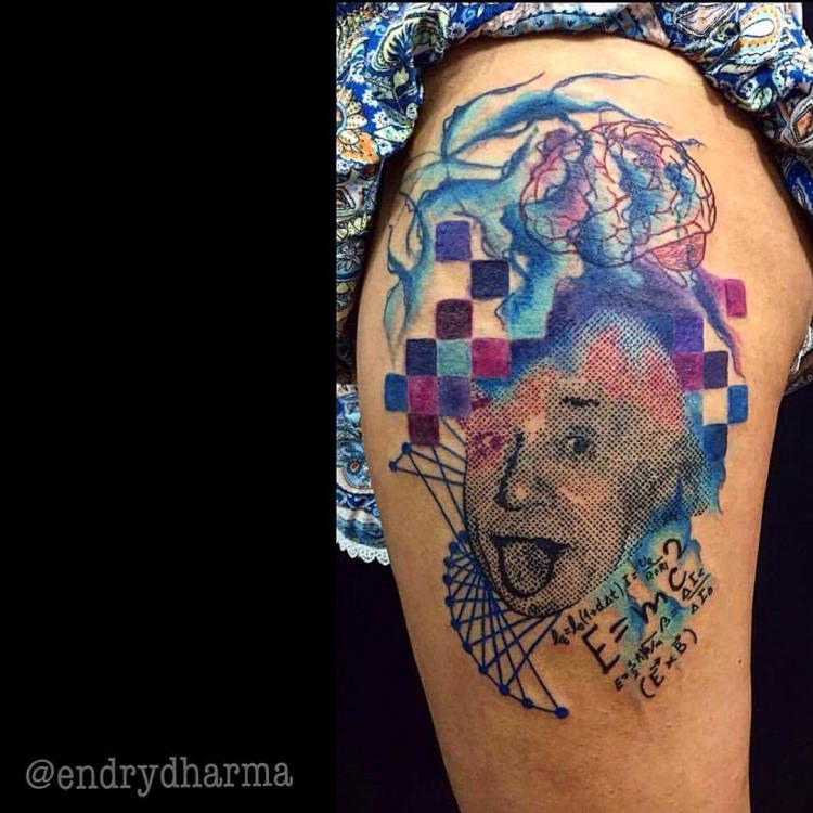 Einstein tattoo by Endry Dharma, Star Angels