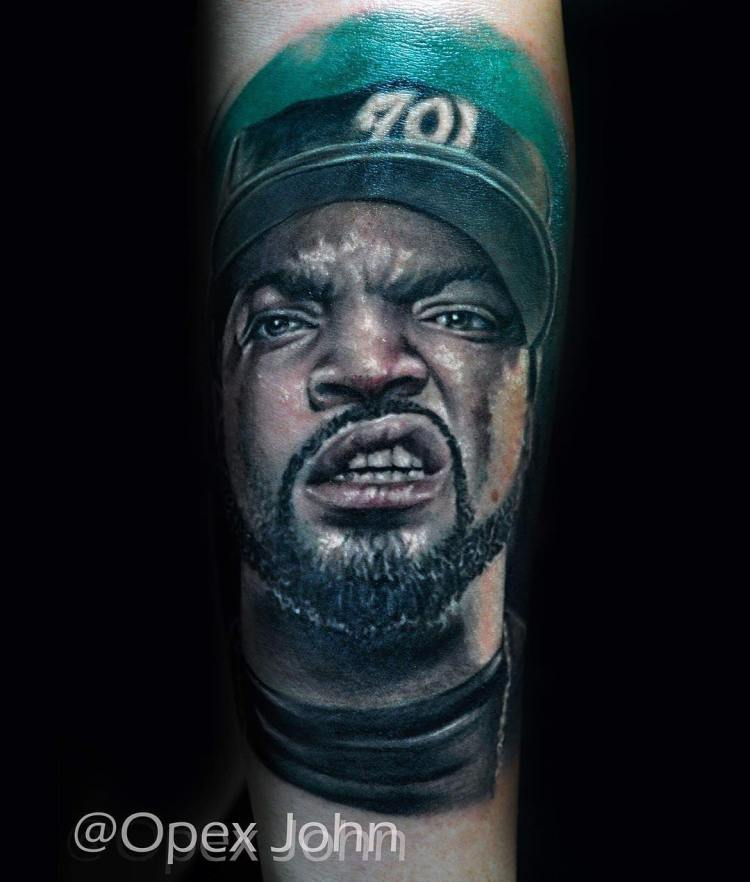 ice cube tattoo portrait wearing cap