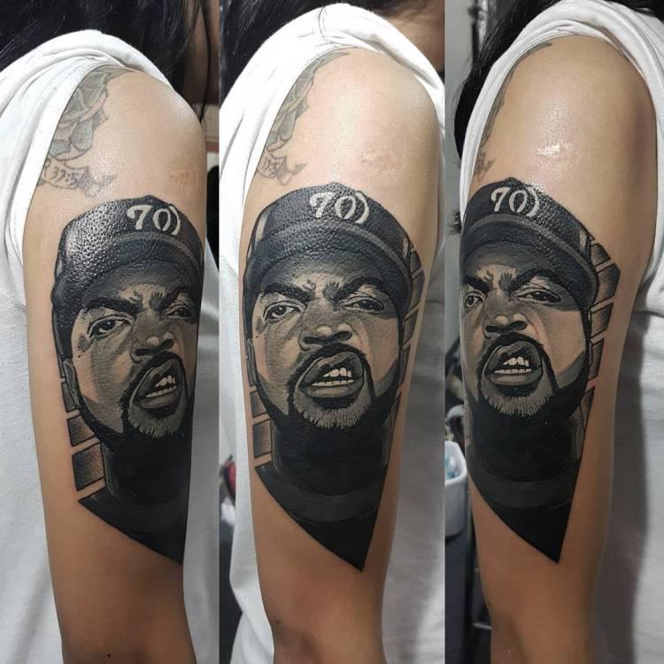 arm tattoo portrait of ice cube