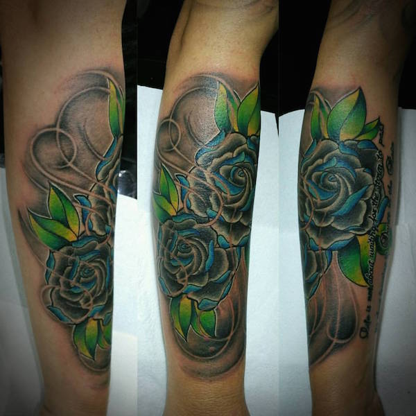 Neotraditional blue roses