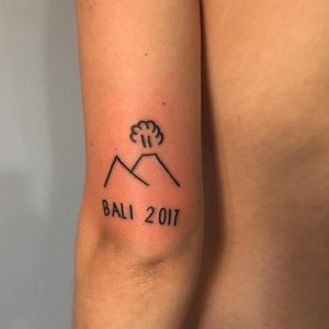 Bali volcano tattoo by Meth til blind