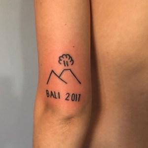 Bali volcano tattoo by Meth til blind