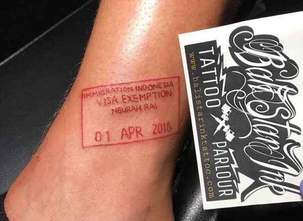 Red Tattoo Passport Stamp by Bali Star Ink