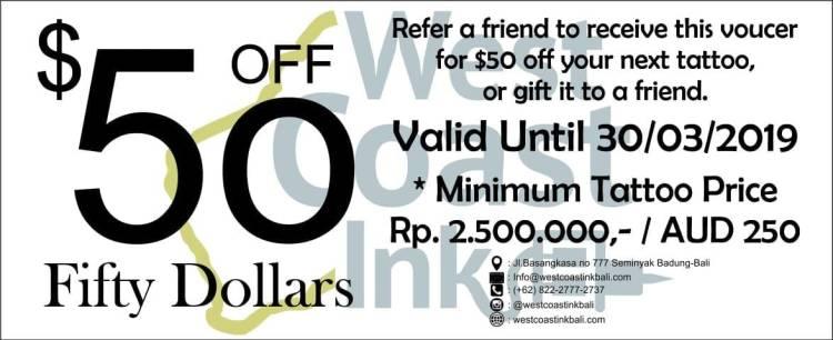 $50 off West Coast Ink Bali