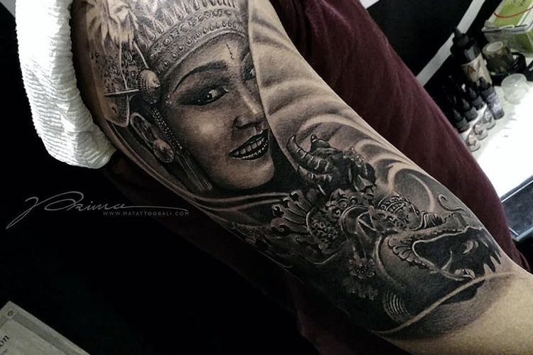 Balinese Dancer and Naga Statue Tattoo by Prima @ Golden State Tattoo Expo