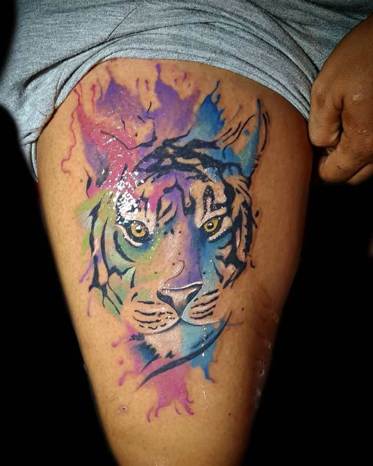 Watercolor tiger tattoo Bali
