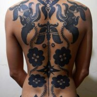 Full Back Tribal Iban Tattoos by Hends Dyak