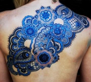 Blue Pattern Back Tat