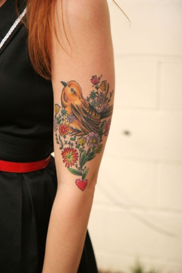 Birdie And Flowers