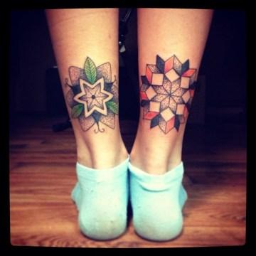 Mandala Leg Tattoos By Martynas Snioka