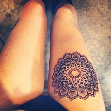 Beautiful Mandala Thigh Tattoo