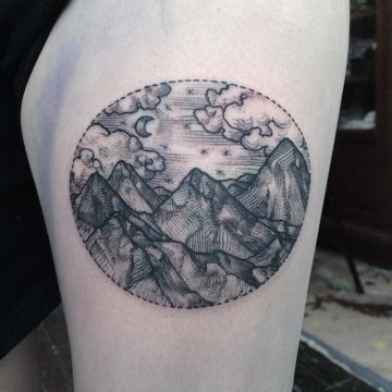 Circle Landscape Tattoo