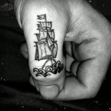 Sailing Ship Thumb Tattoo