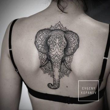 Mandala Elephant Back Tattoo