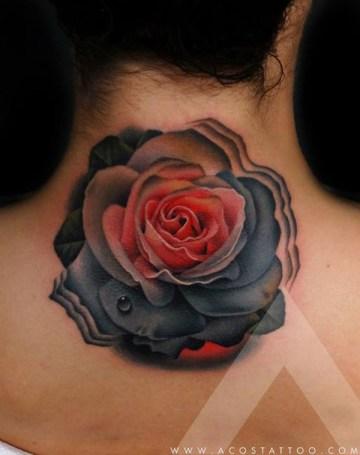 Dark Rose Neck Tattoo