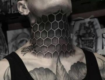 Honeycomb Neck Tattoo