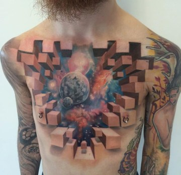 Space 3D Chest Tattoo