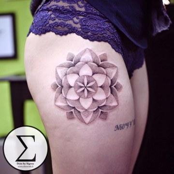 Dotwork Mandala Hip Tattoo