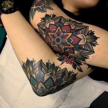 Elbow Mandala Tattoos