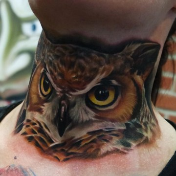 Owl Neck Tattoo