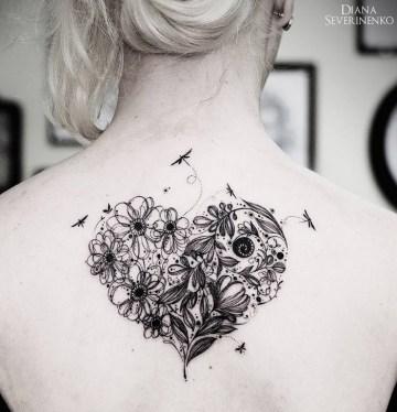 Flowery heart tattoo