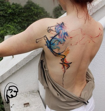 abstract horse back tattoo