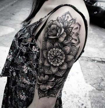 Mandala & Peonies Tattoo