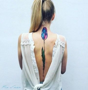 Pretty Tulip Back Tattoo