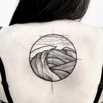 Waves girls back tattoo
