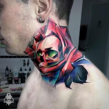 Skull & Rose Merged Neck Tattoo