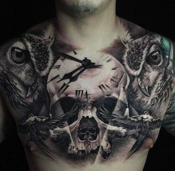 Skull, Clock & Owls, Mens Chest Tattoo