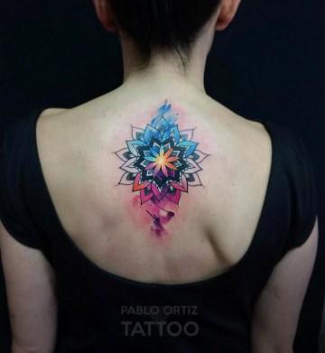 Watercolor Mandala Back Tattoo