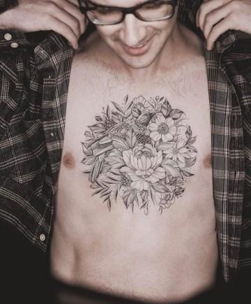 Mens floral chest piece