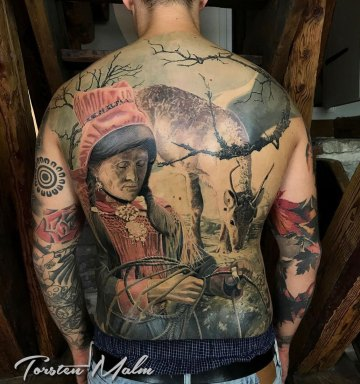 Sami people, mens back tattoo
