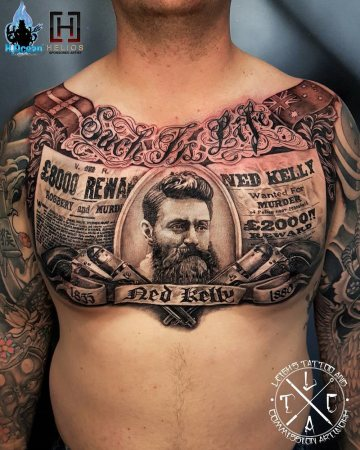 Ned Kelly tattoo, men's chest piece