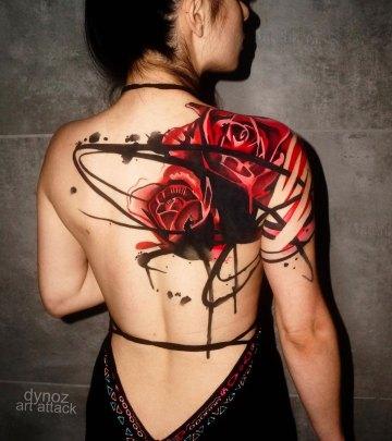 Roses back & shoulder tattoo