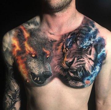 Tiger & Wolf Tattoo