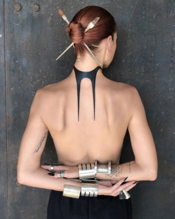 Abstract Black Neck Tattoo
