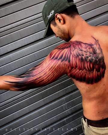 Wing back & arm tattoo