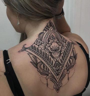 Pretty mandala neck tattoo