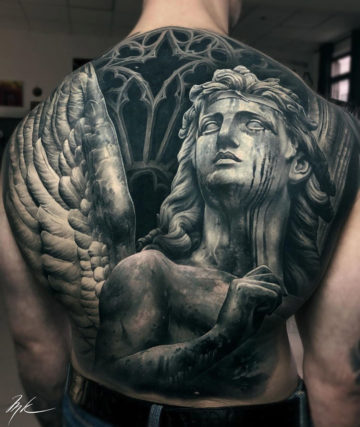 Angel Statue back coverup tattoo
