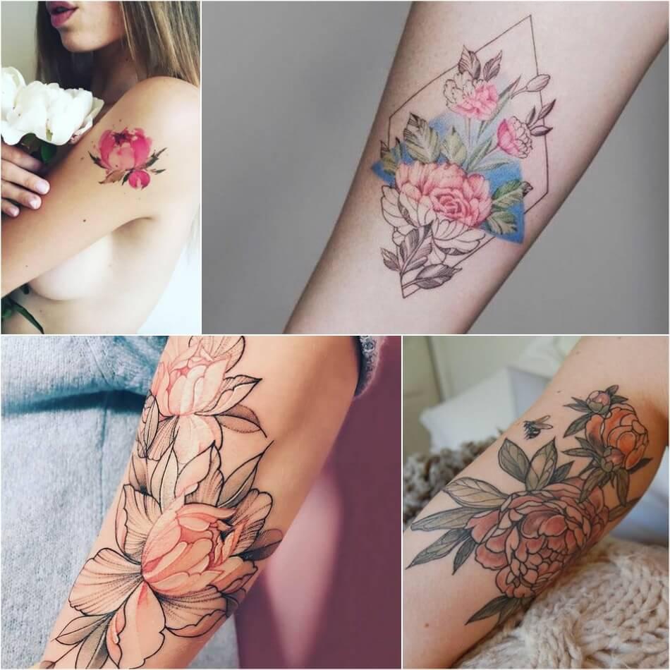 тату пион для девушек символ любви удачи и красоты