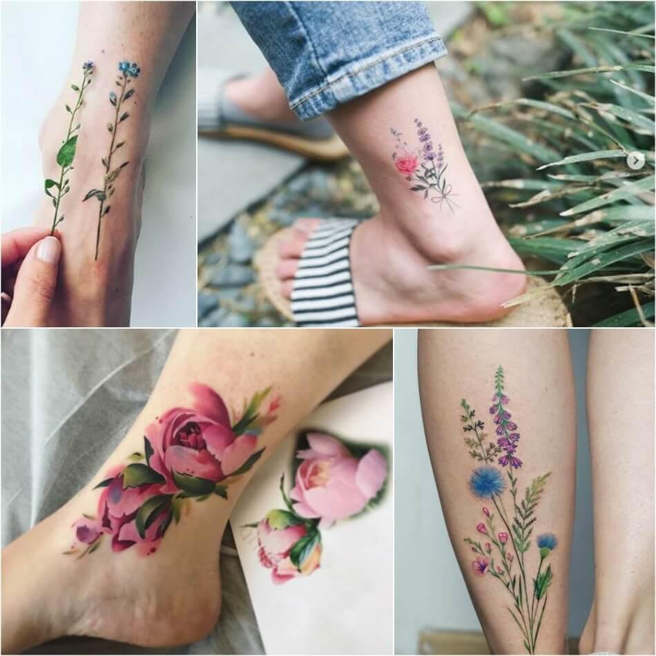 тату тонкие цветы значение тату цветок вариант