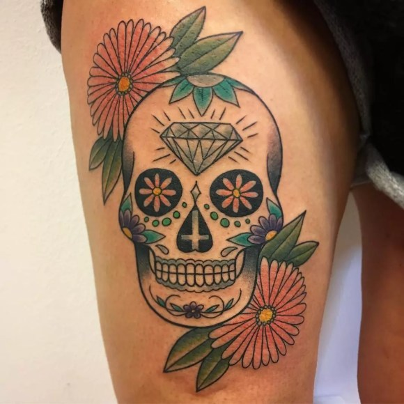 125+ Best Sugar Skull Tattoo - Designs & Meaning (2019)