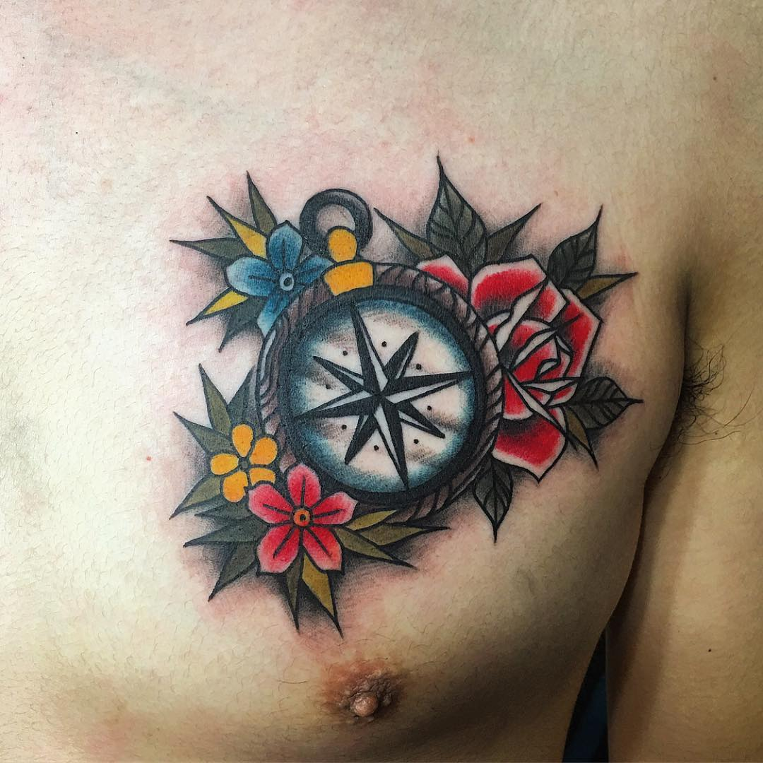 75 Rose And Compass Tattoo Designs Amp Meanings
