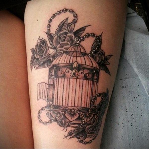 фото тату птица в клетке 02.01.2019 №004 -bird cage tattoo ...