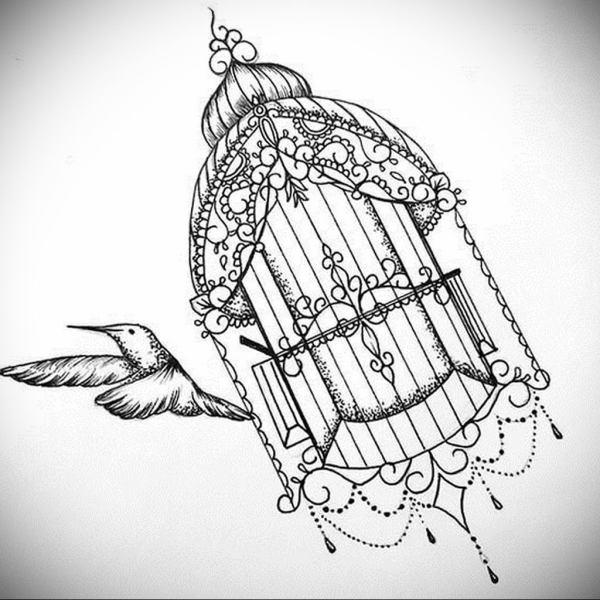 фото тату птица в клетке 02.01.2019 №025 -bird cage tattoo ...